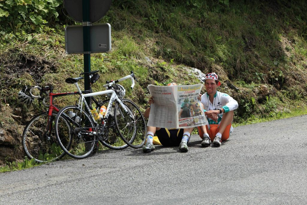 Cyclists reading
