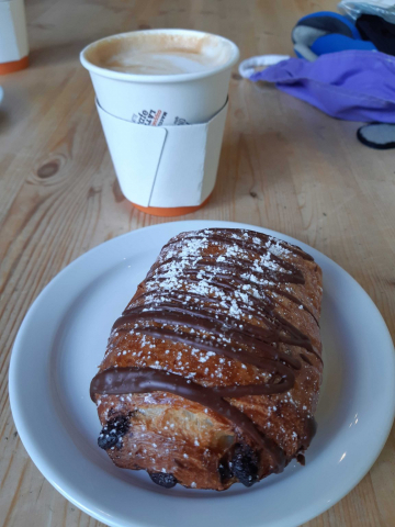 Chocolate croissant and Cafe Latte