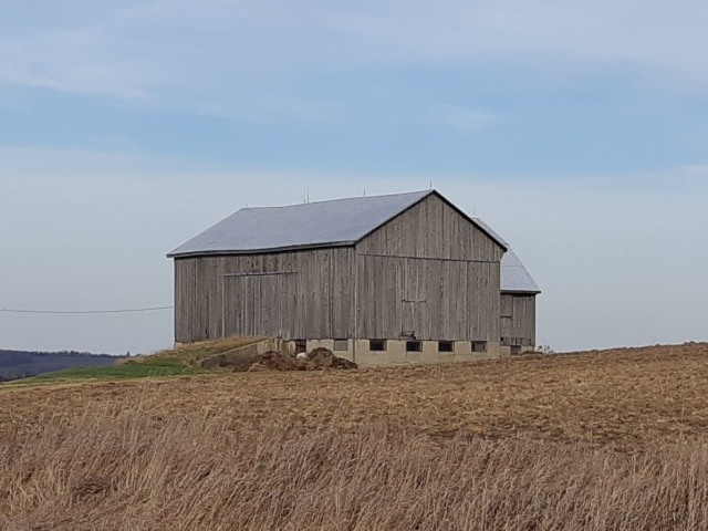 Barn surrounded by harvested field