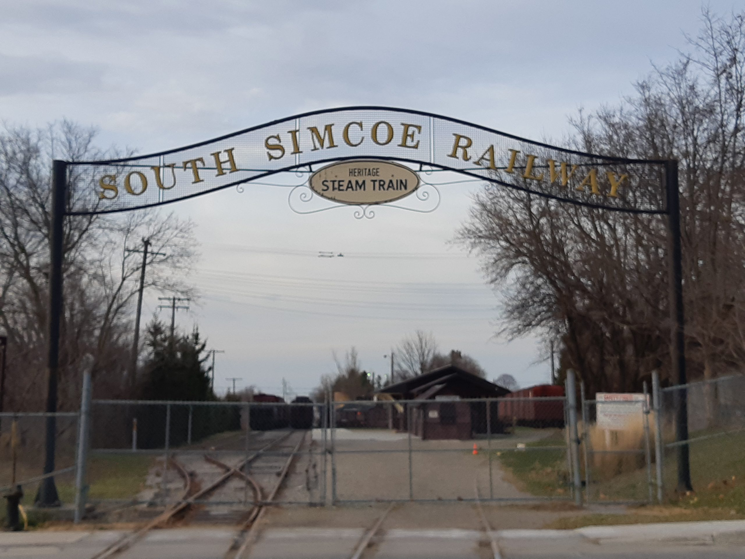 Metal gateway to Simcoe county steam train depot