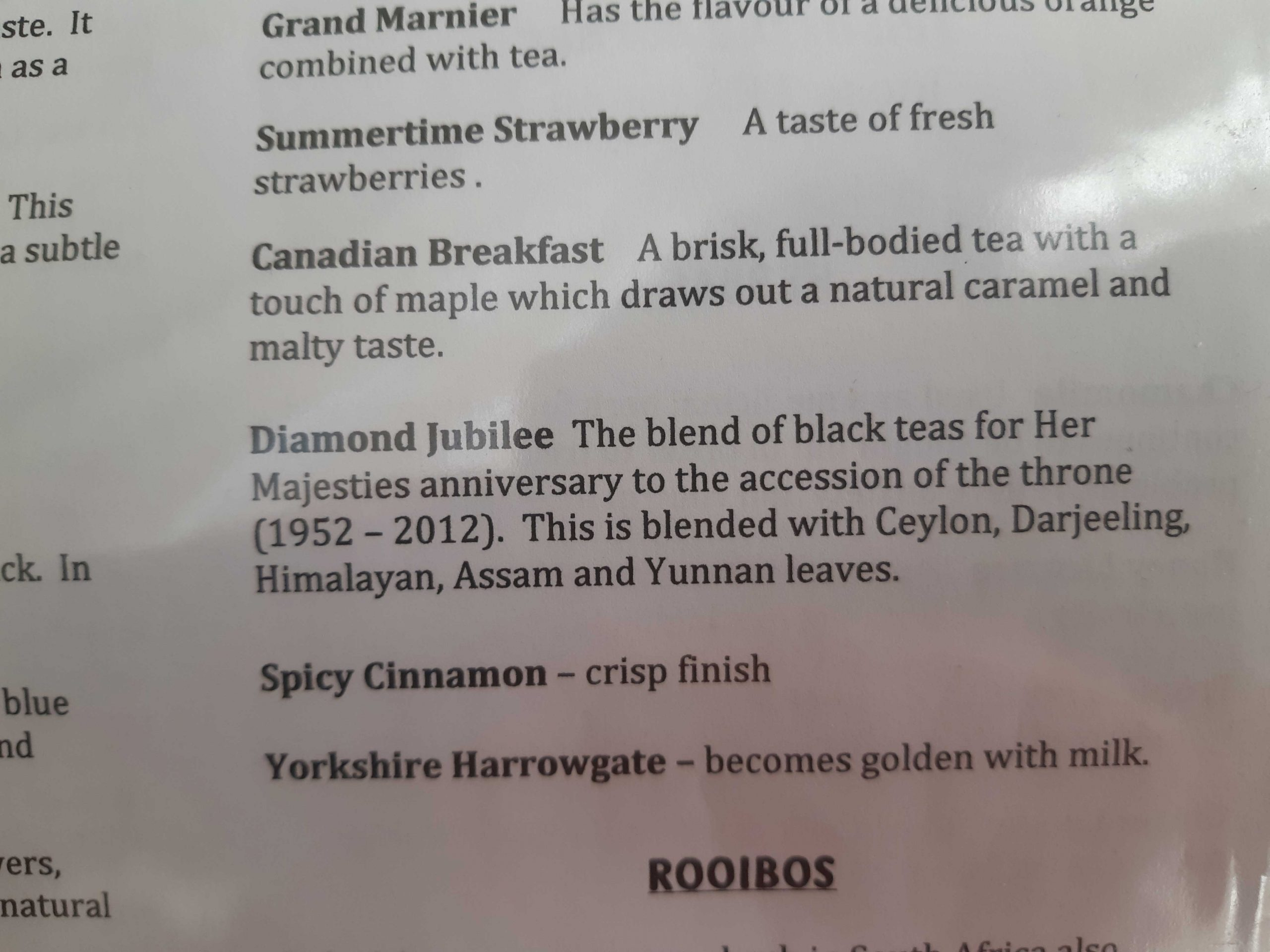 section of a menu showing types of tea